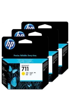 Cartus cerneala original HP 711 3-pack 29ml Yellow